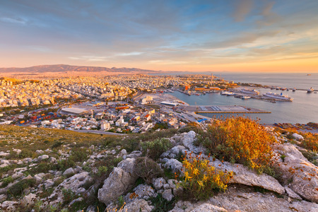 View of Piraeus harbour in Athens from the foothills of Aegaleo mountains Фото со стока