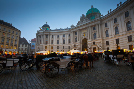 hofburg: Carriages in front of the Hofburg palace in Vienna.