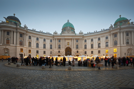 hofburg: Christmas fair in front of the Hofburg Palace in Vienna. Editorial