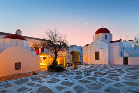byzantine: Small square in the town of Mykonos with two Byzantine churches.