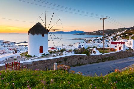 traditional windmill: Traditional windmill over the town of Mykonos, Greece.