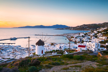 Traditional windmill over the town of Mykonos, Greece.