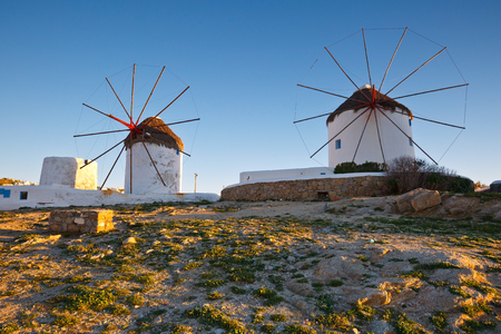 cycladic: Traditional windmills in the town of Mykonos, Greece.