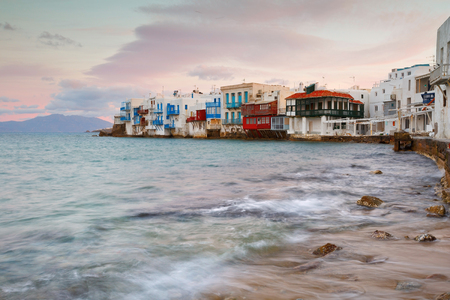 little venice: View of Little Venice in the town of Mykonos early in the morning, Greece.