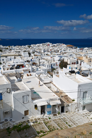 cyclades: View of Mykonos town in Cyclades, Greece.