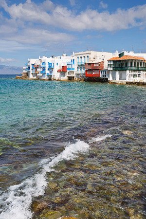 little venice: View of Little Venice in the town of Mykonos, Greece.