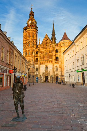 elisabeth: St. Elisabeth cathedral and a statue in the centre of Kosice city in eastern Slovakia.