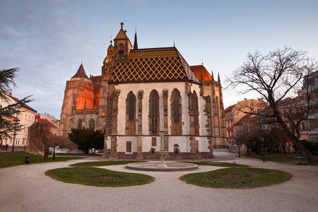 michael: St. Michael chapel and St. Elisabeth cathedral in the main square of Kosice city in eastern Slovakia. Stock Photo