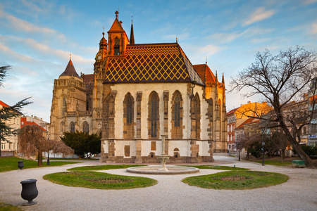 elisabeth: St. Michael chapel and St. Elisabeth cathedral in the main square of Kosice city in eastern Slovakia. Editorial
