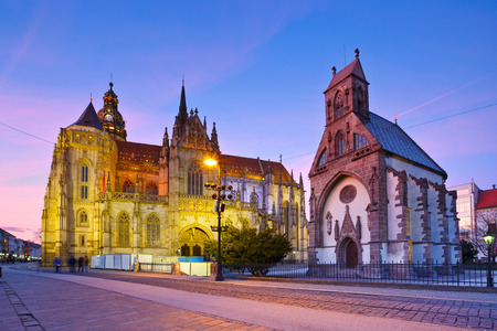 elisabeth: St. Michael chapel and St. Elisabeth cathedral in the main square of Kosice city in eastern Slovakia. Stock Photo