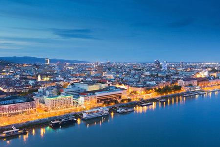 danube: View of Bratislava and river Danube, Slovakia.