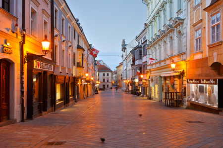 morning blue hour: One of the main streets of the old town in Bratislava. Editorial