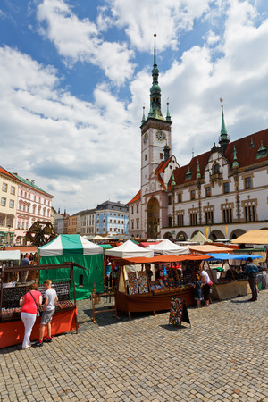 olomouc: Olomouc, Czech Republic - June 04, 2016: Market in the main square of the old town of Olomouc, Czech Republic. Editorial