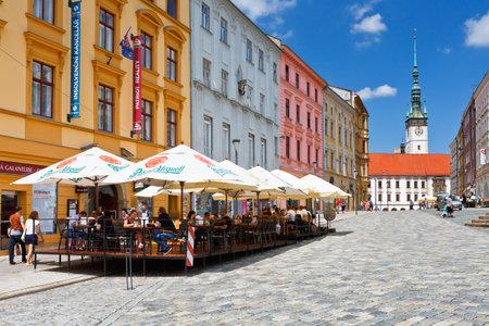 olomouc: Olomouc, Czech Republic - June 04, 2016: One of the main squares in the old town of Olomouc, Czech Republic.