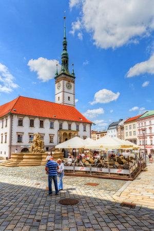olomouc: Olomouc, Czech Republic - June 04, 2016: Town hall in the main square of the old town of Olomouc, Czech Republic. HDR image.