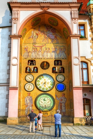 olomouc: People in front of astronomical clock in Olomouc, Czech Republic. HDR image Stock Photo