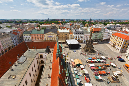 old town townhall: Market in the main square of the old town of Olomouc, Czech Republic.