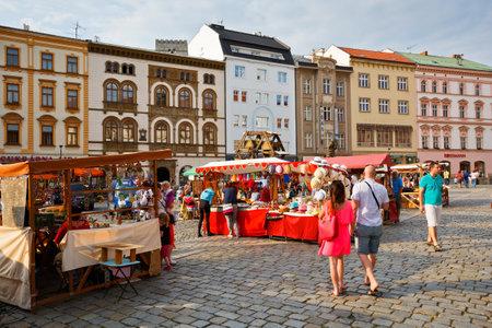 olomouc: Market in the main square of the old town of Olomouc, Czech Republic.