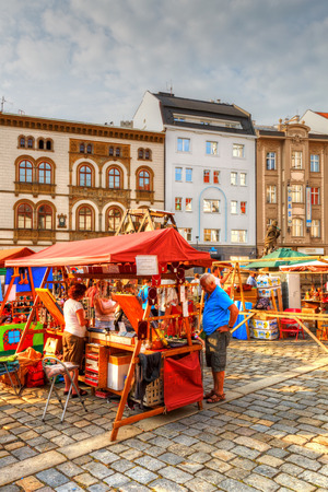 olomouc: Market in the main square of the old town of Olomouc, Czech Republic. HDR image.