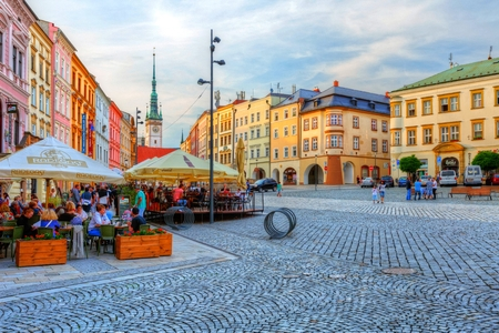 olomouc: One of the main squares in the old town of Olomouc, Czech Republic. HDR image.