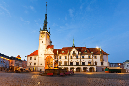 old town townhall: Town hall in the main square of the old town of Olomouc, Czech Republic. Stock Photo