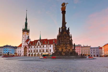 olomouc: Town hall and Holy Trinity Column in the main square of the old town of Olomouc, Czech Republic.