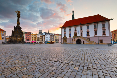olomouc: Holy Trinity Column and town hall in the main square of the old town of Olomouc, Czech Republic.