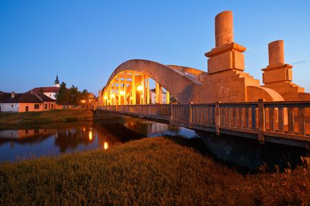 Bridge over river Morava in Uhersky Ostroh, Moravia, Czech Republic. Фото со стока