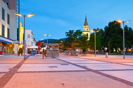 news stand: Main square in the town of Zvolen, Slovakia.