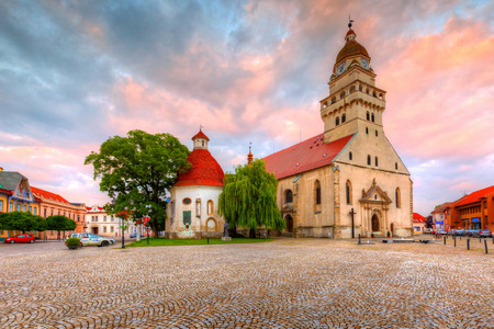 hdr: Church in the main square of Skalica. HDR image.