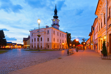 old town townhall: Town hall and the main square in the town of Kezmarok, Slovakia.
