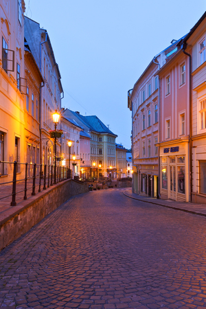 voicemail: Street in the old town of Banska Stiavnica, Slovakia. Editorial