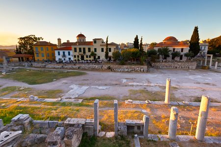 remains: Remains of the Roman Agora in Athens, Greece.