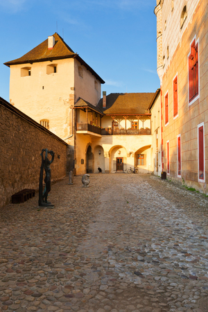 slovak: Yard of the Zvolen castle which is a branch of the Slovak National Gallery.