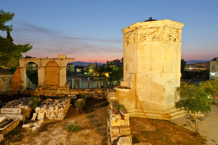 remains: Remains of the Roman Agora and Tower of Winds in Athens, Greece.