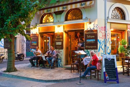 Coffee shop in Psirri neighborhood in Heroes square, Athens. Editöryel