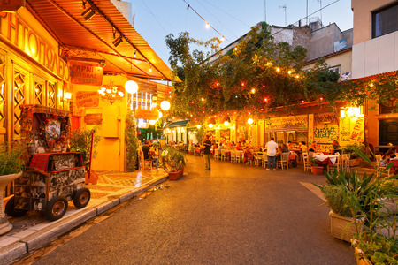 taverna: Restaurants and coffee shops in Psirri neighborhood, Athens. Editorial
