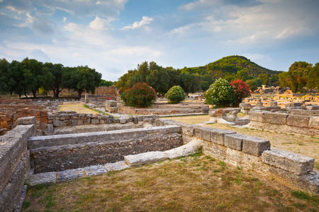 Leonidaion in the archaeological site of Ancient Olympia. Stock Photo