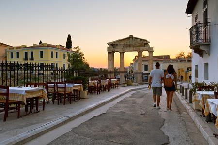 Remains of the Gate of Athena Archegetis in Roman Agora, Athens.