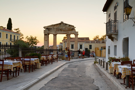 taverna: Remains of the Gate of Athena Archegetis in Roman Agora, Athens.