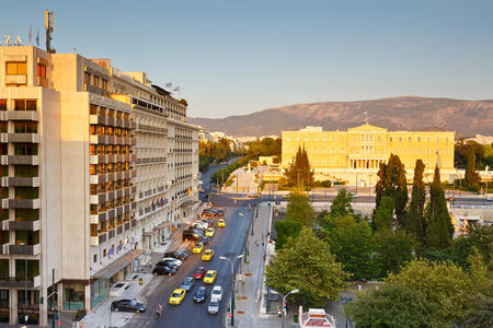 Syntagma square and building of parliament in central Athens.