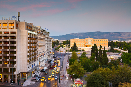 syntagma: Syntagma square and building of parliament in central Athens.