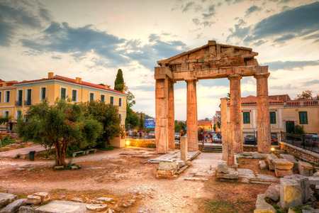 Remains of the Gate of Athena Archegetis and Roman Agora in Athens, Greece. HDR image Фото со стока