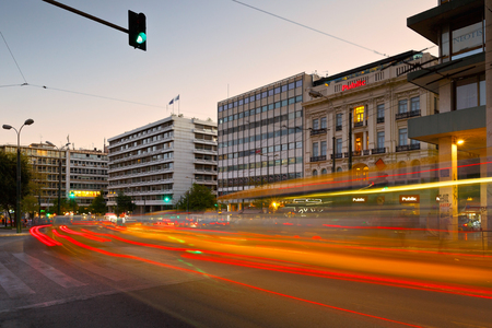 Office buildings and shops in Syntagma square in Athens. Editorial