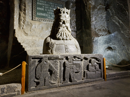 salt mine: Carvings in salt in Wieliczka salt mine near Krakow in Poland.