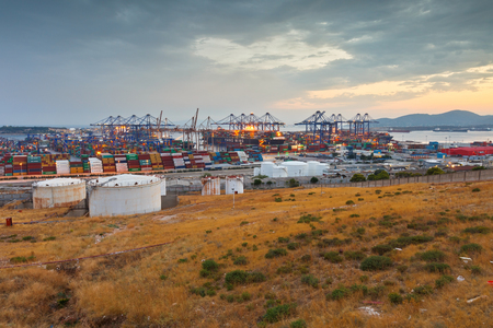 Container port of Piraeus at sunset.