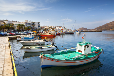 cycladic: Boats in the port of Gavrio on Andros island.