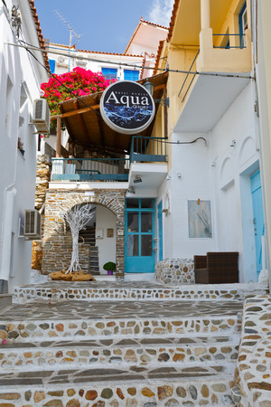 cycladic: Batsi village on the coast of Andros island in Greece.