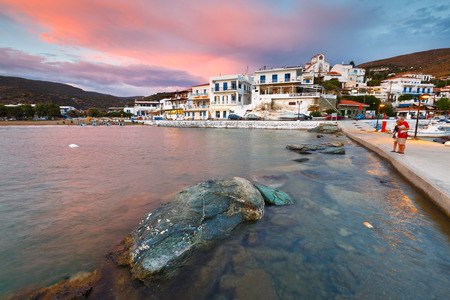 seafronts: Batsi village on the coast of Andros island in Greece.