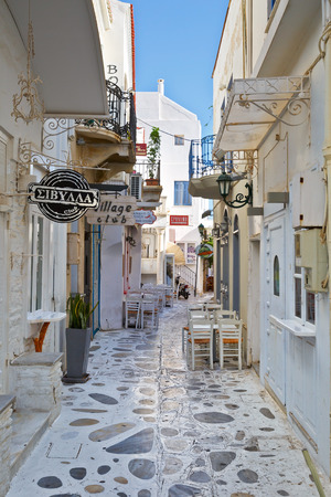cycladic: Restaurants and coffee shops in the centre of the old town of Tinos.